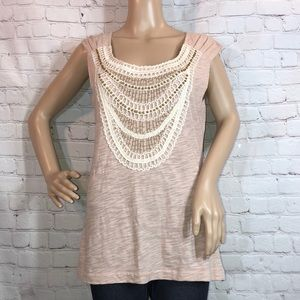 C. Keer Anthropologie Beaded Lace Sleeveless Top M